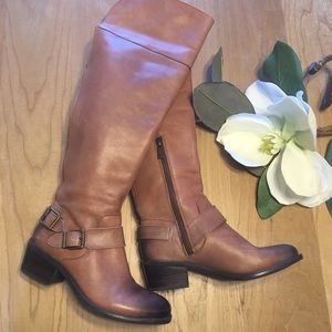 Vince Camuto Camel Leather Riding Knee High Boot 6